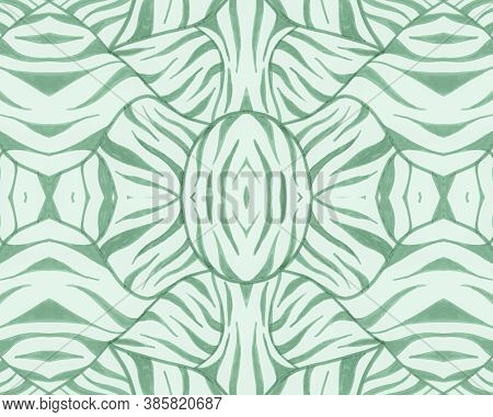 Green Seamless Animal Pattern. Abstract Africa Background. Wild Safari Print. Camouflage Lines Desig