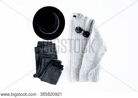 Women Fashion Clothes And Accessories. Feminine Youth Top View. Flat Lay Female Style Look With Warm