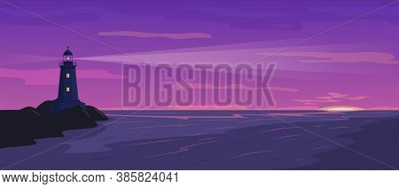 Seaside Landscape With Lighthouse On The Rock At Sunset Or Sun Rise.  Faros On Seashore. Hope Symbol