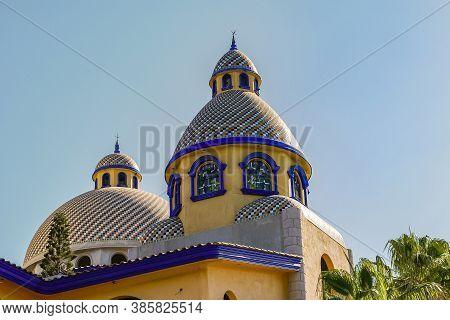 Mazatlan, Mexico - April 23, 2008: Yellow And Blue Moorish Inspired, Domed Architecture Along Paseo