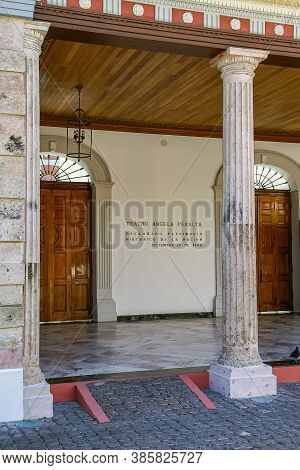Mazatlan, Mexico - April 23, 2008: Entrance In Historic Building To Teatro Angela Peralta With Colum