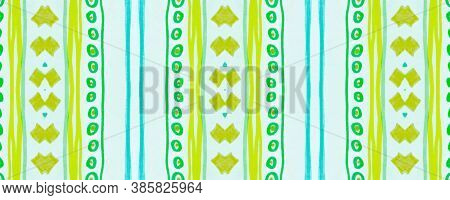 Seamless Tribal Ornament. Blue Mexican Ethnic Pattern. Drawn By Pen Native Texture. Geometric Tradit