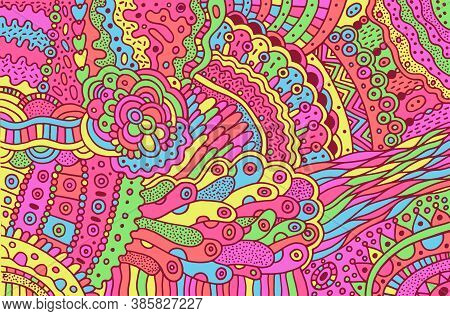 Colorful Trippy Psychedelic Surreal Doodle Pattern. Background With Floral Abstract Motifs. Vibrant