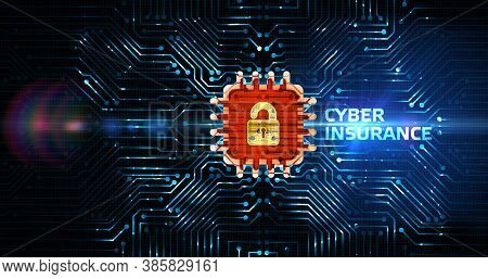 Cyber Security Data Protection Business Technology Privacy Concept. Cyber Insurance 3d Illustration