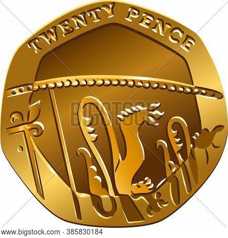 British Money Gold Coin Reverse Twenty Pences, Reverse With Segment Of Royal Shield