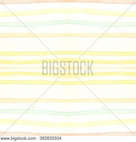 Orange Stripes Ornament. Creative Brushstroke Wallpaper. Summer Horizontal Artwork. Watercolor Strip