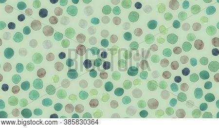 Seamless Circle Texture. Watercolour Eucalyptus Background. Pastel Floral Textile Design. Random Sta