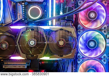 Close-up And Inside Desktop Pc Gaming And Cooling Fan Cpu With Multicolored Led Rgb Light Show Statu