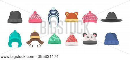 Collection Of Winter Or Autumn Hats In Flat Style. Knitted Hat, Caps For Girls And Boys In Cold Weat