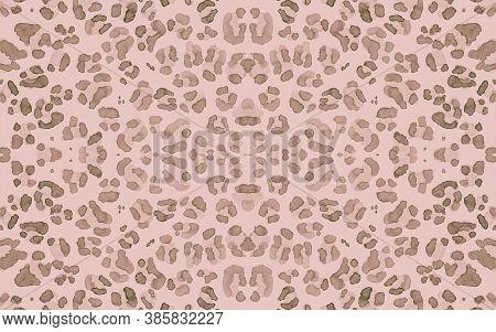 Brown Ocelot Imitation. Beige Trendy Panther Art Pattern. Fashion Camouflage Material Design. Seamle