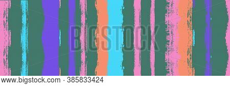 Funky Vertical Stripes Seamless Background. Spring Summer Distress Stripes. Ink Brushed Lines Textur
