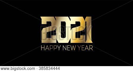 Golden 2021 Sparkling Border Graphic 2021 Icon Texture. Happy New Year Card Design. Christmas Logo B