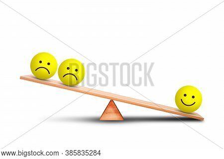Emotional And Customer Feedback Concept : Smiles Emotional Icon Symbol Outweigh More Than Sad Emotio
