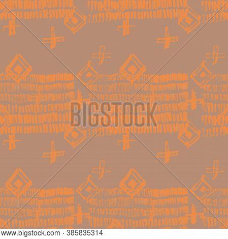 Tie Dye Japanese Geometric Summer Seamless Pattern. Scribble Cartoon Doodle Craft Texture. Boho Tie