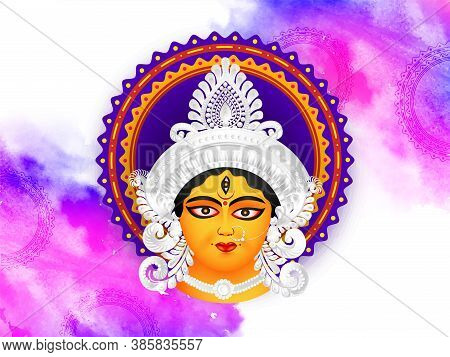 Happy Navratri. Indian Festival Navratri & Durga Puja With Abstract Design Background And Goddess Du