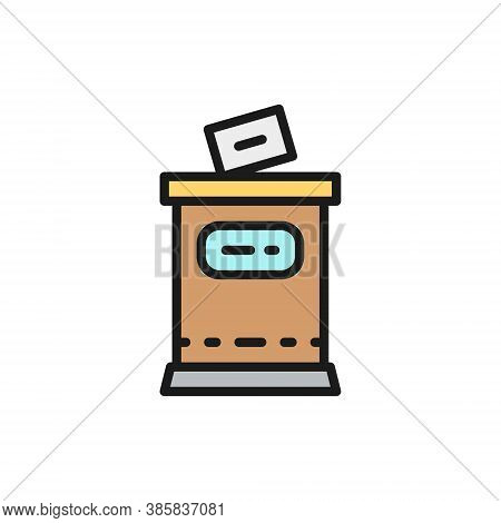 Election, Put Voting Paper In Ballot Box Flat Color Line Icon.