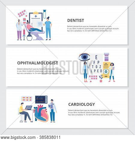 Health Exam By Dentist, Ophthalmologist And Cardiologist, Flat Vector Illustration.