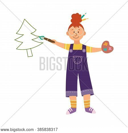 Child Painter Fond Of Drawing And Painting, Flat Vector Illustration Isolated.