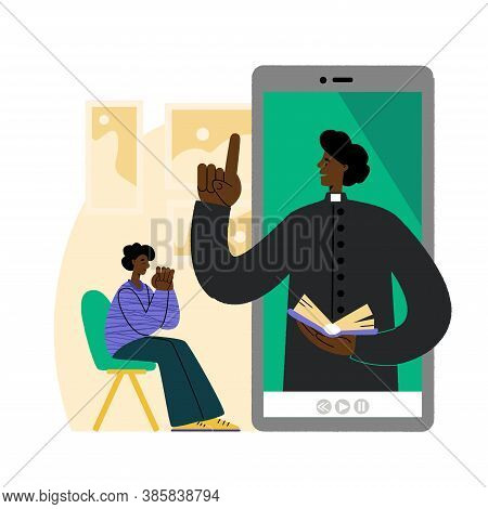 The Pastor Conducts Church Services Online. African American Man Prays In Front Of A Smartphone. Con