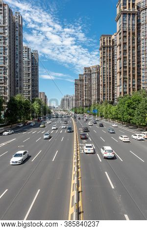 Chengdu, Sichuan Province, China - Aug 24, 2020 : Traffic On Multiple Lanes Large Urban Highway In K