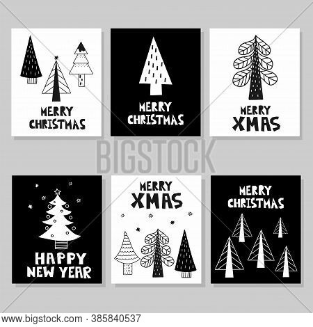 Merry Christmas Postcard Set. New Year Card With Xmas Trees And Lettering, Winter Festive Gift Cards