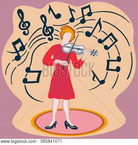 Profession - Musician, Colourful Character Of Professionals. Woman With Professional Tools And Equip