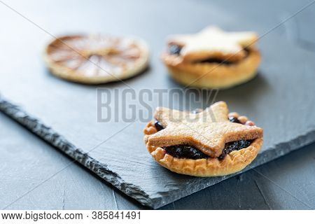 Christmas Homemade Mince Pies On Slate Plate