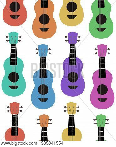 Seamless Flat Pattern With Multi Colored Ukuleles In A Row On A White Background. Hawaiian Music. Mu