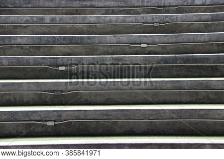 Step Of Mortar Staircase Or Amphitheater Seat, Tiers Of Seats For Spectators To The Central Space.