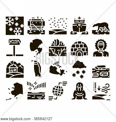 Arctic And Antarctic Glyph Set Vector. Arctic Snow And Ice, Iceberg And Bear, Station And Ship, Peng