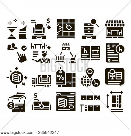 Furniture Shop Market Glyph Set Vector. Furniture Table And Chair For Cafe, Couch And Bed, Internet