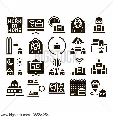 Remote Work Freelance Glyph Set Vector. Work At Home, Internet Job And Online Consultation Operator,