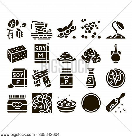 Soy Bean Food Product Glyph Set Vector. Agricultural Harvester Harvesting On Farm And Milk Package,