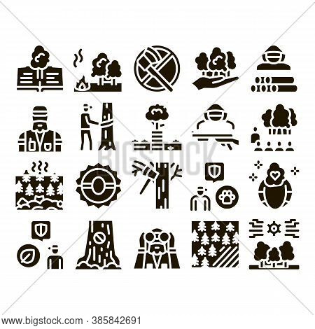 Forestry Lumberjack Glyph Set Vector. Forestry Working Equipment And Tree Safe Fence, Animal And For