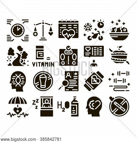 Healthy Lifestyle Glyph Set Vector. Healthy Food Dish And Vitamin Pills, Sport And Walking, Non-alco