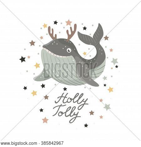 Christmas Card With Baby Shark In Deer Antlers On White Background. Vector Illustration.