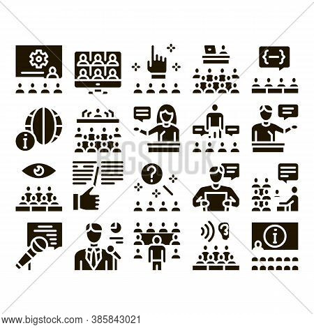 Seminar Conference Glyph Set Vector. Seminar In Meeting Room, Online Communication And Presentation,