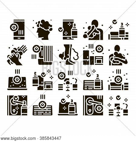 Hygiene And Healthcare Glyph Set Vector. Cleaning Mobile Phone And Handle Sanitized Antiseptic, Wash