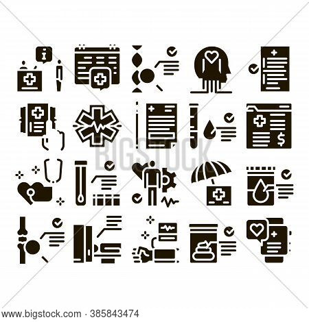 Health Checkup Medical Glyph Set Vector. Healthcare Checkup List And Calendar Date, Fitness Tracker