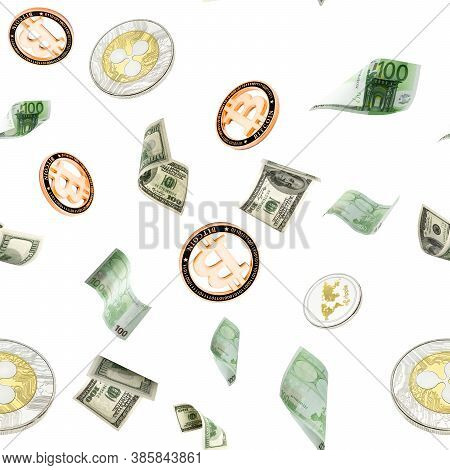 Money Stack Seamless Pattern. Flying Hundred Dollar, Euro Banknotes And Bitcoin. European Money Cash