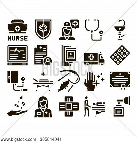 Nurse Medical Aid Glyph Set Vector. Nurse Hat And Stethoscope, Pulse Cardiogram And Patch, Suturing