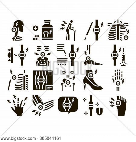 Arthritis Disease Glyph Set Vector. Arthritis Symptoms And Treatments, Pain In Joints And Back, Neck