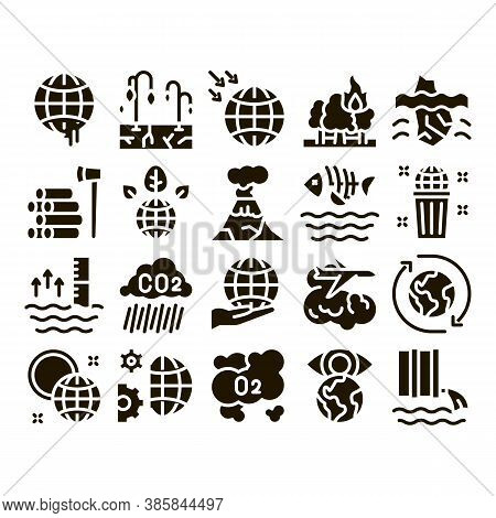 Climate Change Ecology Glyph Set Vector. Climate Warming And Drought, Deforestation And Forest Fire,