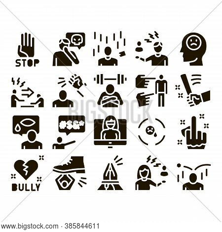 Bullying Aggression Glyph Set Vector. Internet Bullying And Name-calling, Beating And Showing Indece