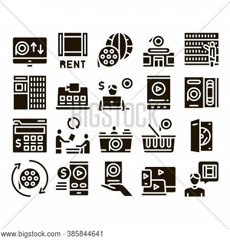 Renting Movies Service Glyph Set Vector. Renting Movies Store, Internet Online Watching And Download