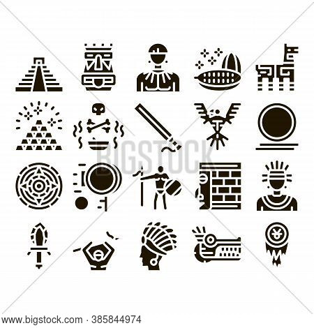 Aztec Civilization Glyph Set Vector. Aztec Antique Pyramid And Gold, Bird And Animal, Cozcacuauhtli