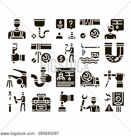 Plumber Profession Glyph Set Vector. Plumber Worker And Equipment, Faucet And Pipe Research, Instrum
