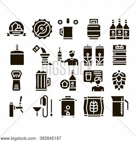 Home Brewing Beer Glyph Set Vector. Barrel And Bottle, Hops And Malt, Faucet And Opener Home Brewing