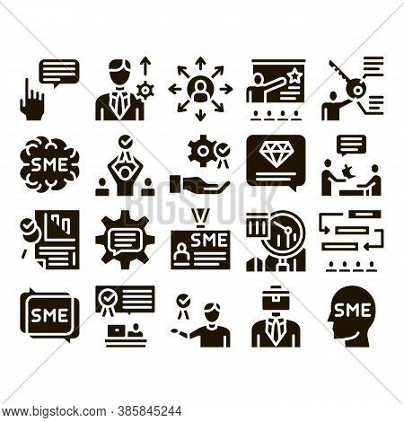 Sme Business Company Glyph Set Vector. Sme Small And Medium Enterprise, Communication And Education,