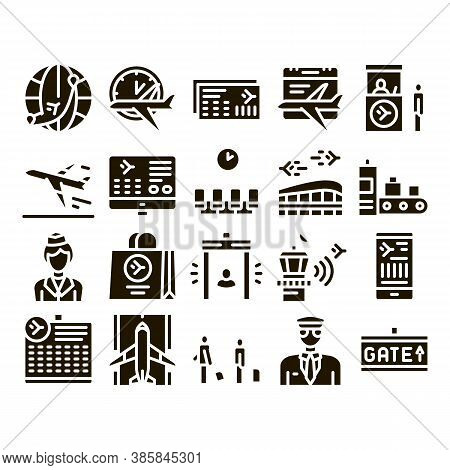Airline And Airport Glyph Set Vector. Airline Worldwide Direction And Ticket, Pilot And Stewardess,